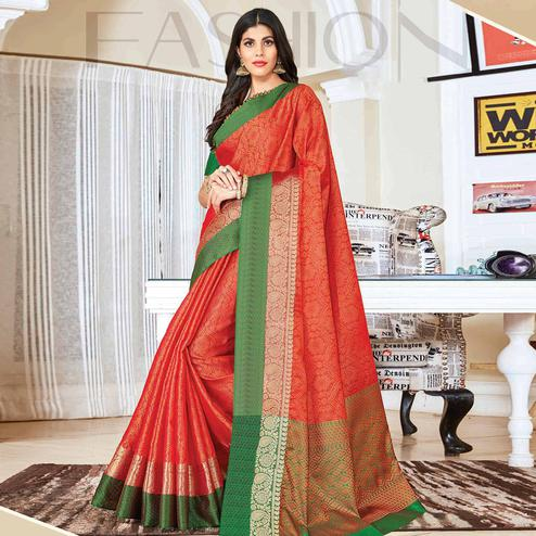 Elegant Peach Colored Festive Wear Woven Handloom Silk Saree