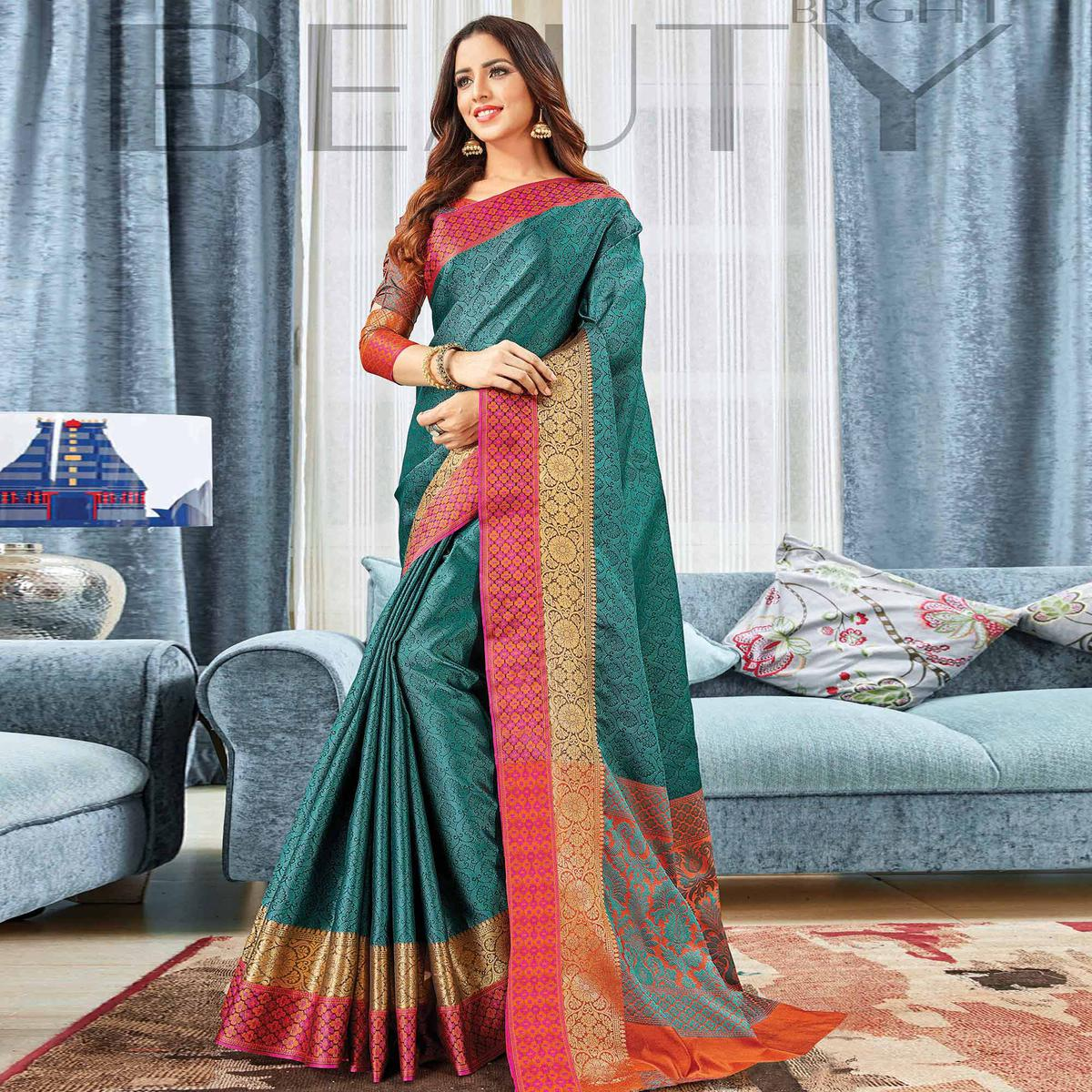 Radiant Teal Blue Colored Festive Wear Woven Handloom Silk Saree
