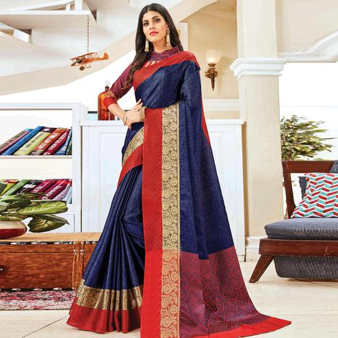 Pleasant Navy Blue Colored Festive Wear Woven Handloom Silk Saree
