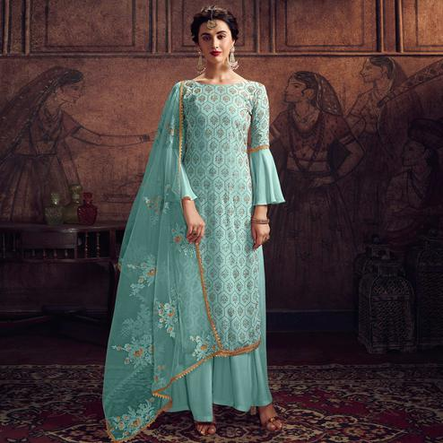 Exceptional Sky Blue Colored Partywear Embroidered Rangoli Georgette Palazzo Suit