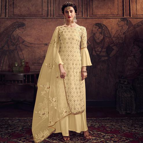 Gleaming Yellow Colored Partywear Embroidered Rangoli Georgette Palazzo Suit