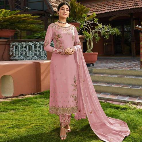 Magnetic Pink Colored Partywear Embroidered Gerorgette Straight Suit