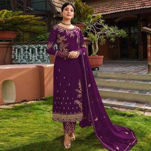 Hypnotic Purple Colored Partywear Embroidered Gerorgette Straight Suit