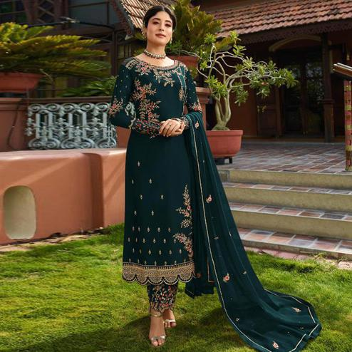 Flattering Sea Green Colored Partywear Embroidered Gerorgette Straight Suit