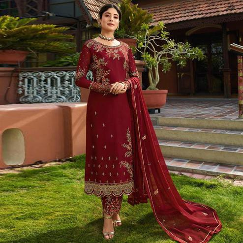 Excellent Maroon Colored Partywear Embroidered Gerorgette Straight Suit