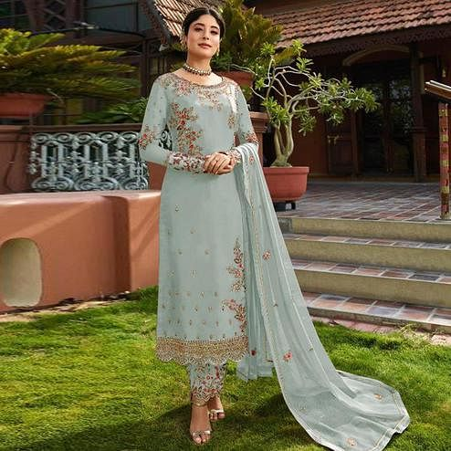 Preferable Sky Blue Colored Partywear Embroidered Gerorgette Straight Suit
