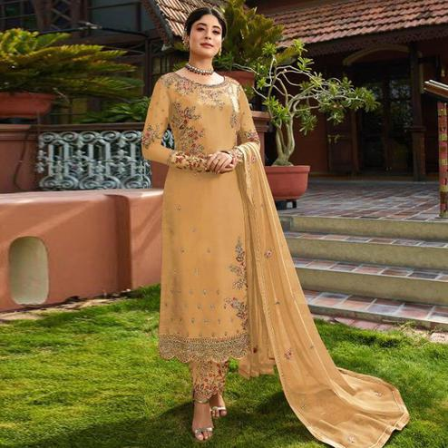 Marvellous Yellow Colored Partywear Embroidered Gerorgette Straight Suit