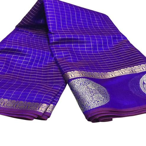 Prominent Violet Colored Festive Wear Woven Silk Saree