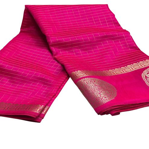 Appealing Pink Colored Festive Wear Woven Silk Saree'