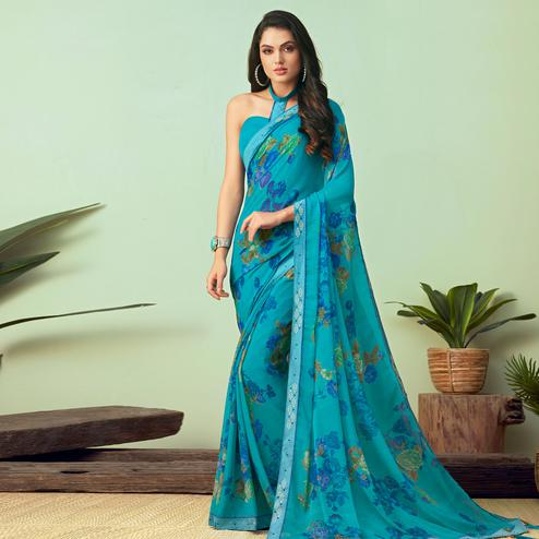 Glorious Sky Blue Colored Casual Wear Printed Chiffon Saree