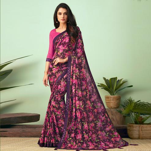 Attractive Dark Purple Colored Casual Wear Printed Chiffon Saree