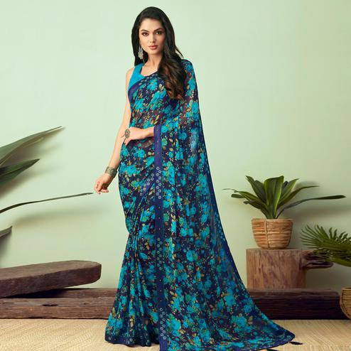 Beautiful Navy Blue Colored Casual Wear Printed Chiffon Saree