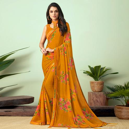 Blooming Mustard Yellow Colored Casual Wear Printed Chiffon Saree
