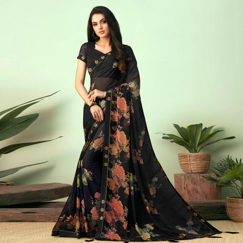 Charming Black Colored Casual Wear Printed Chiffon Saree