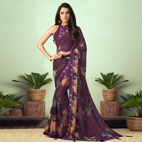Jazzy Dark Purple Colored Casual Wear Printed Chiffon Saree