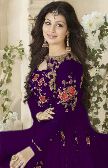 Purple Embroidered Work Georgette Suit