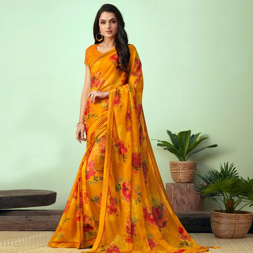 Delightful Yellow Colored Casual Wear Printed Chiffon Saree