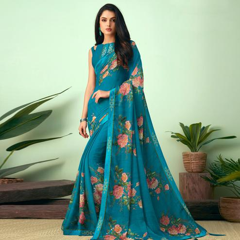 Fantastic Turquoise Blue Colored Casual Wear Printed Chiffon Saree