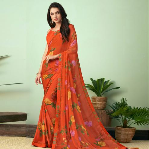 Blissful Orange Colored Casual Wear Printed Chiffon Saree