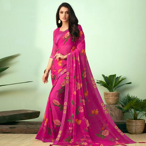 Ideal Pink Colored Casual Wear Printed Chiffon Saree