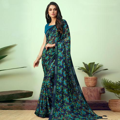 Lovely Dark Blue Colored Casual Wear Printed Chiffon Saree