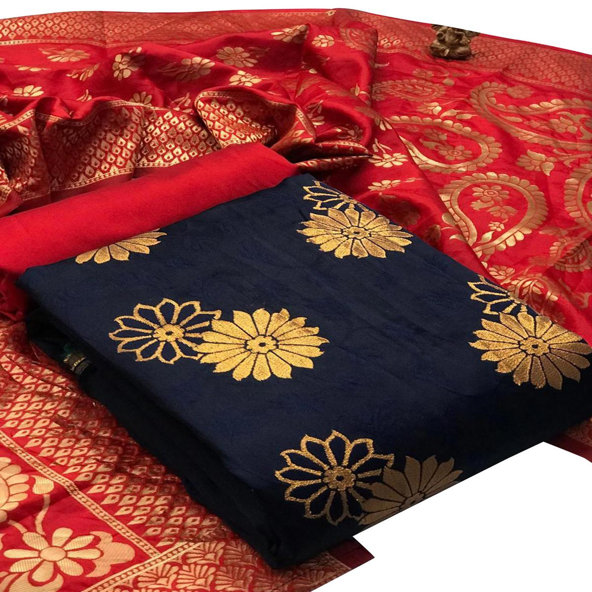 IRIS - Navy Blue Colored Festive Wear Banarasi Jacquard Dress Material