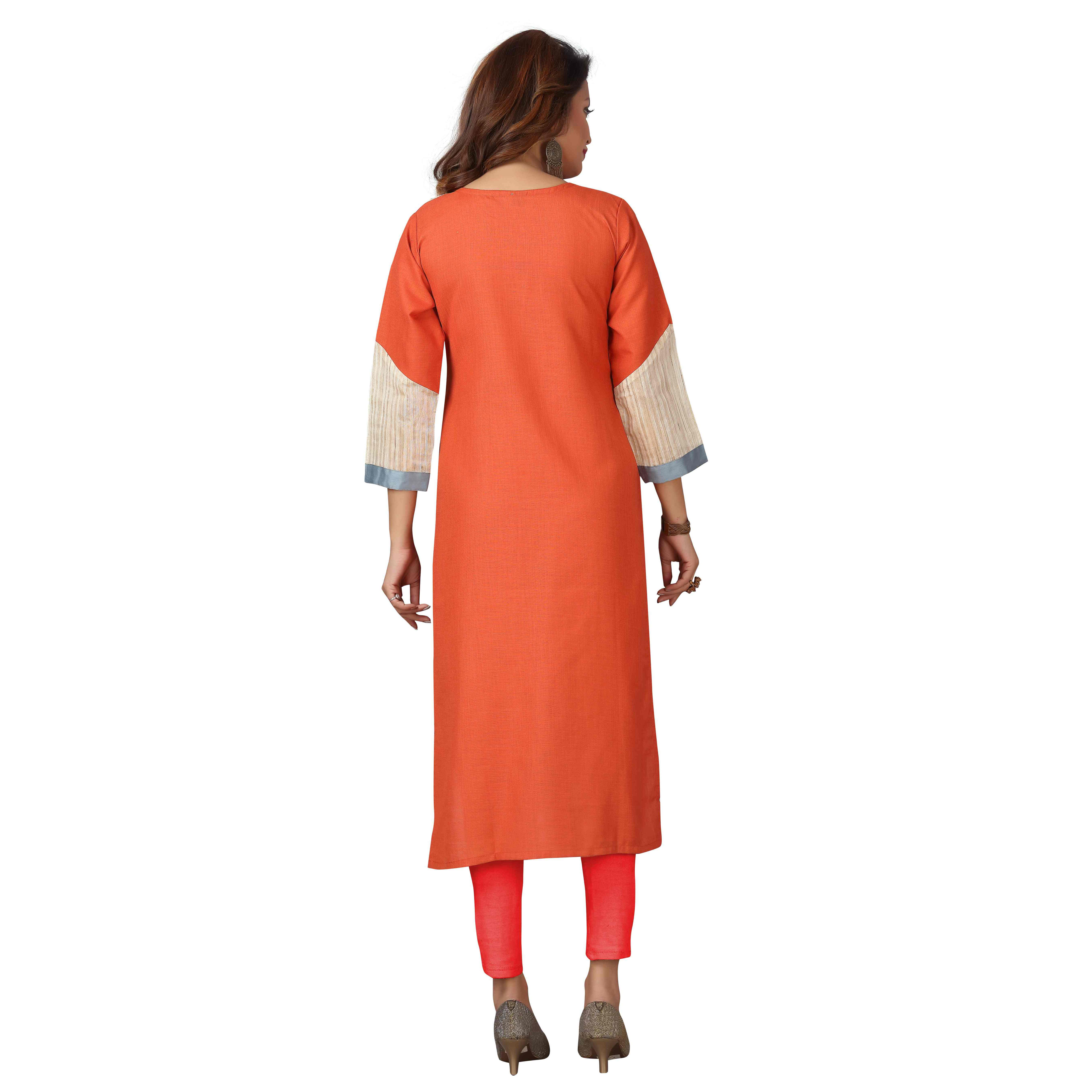 MAJESTIN Ladies Orange Colored Casual Wear Solid Calf Length Cotton Kurti