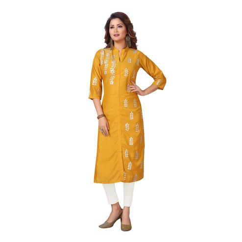 MAJESTIN Ladies Yellow Colored Casual Embroidered Calf Length Muslin Cotton Kurti