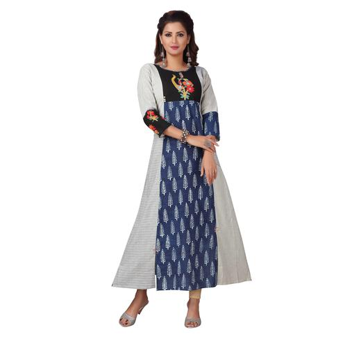 MAJESTIN Ladies Blue Colored Casual Embroidered Calf Length Cotton Kurti