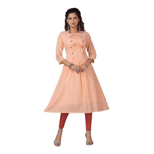 MAJESTIN Ladies Peach Colored Casual Embellished Knee Length Cotton Kurti