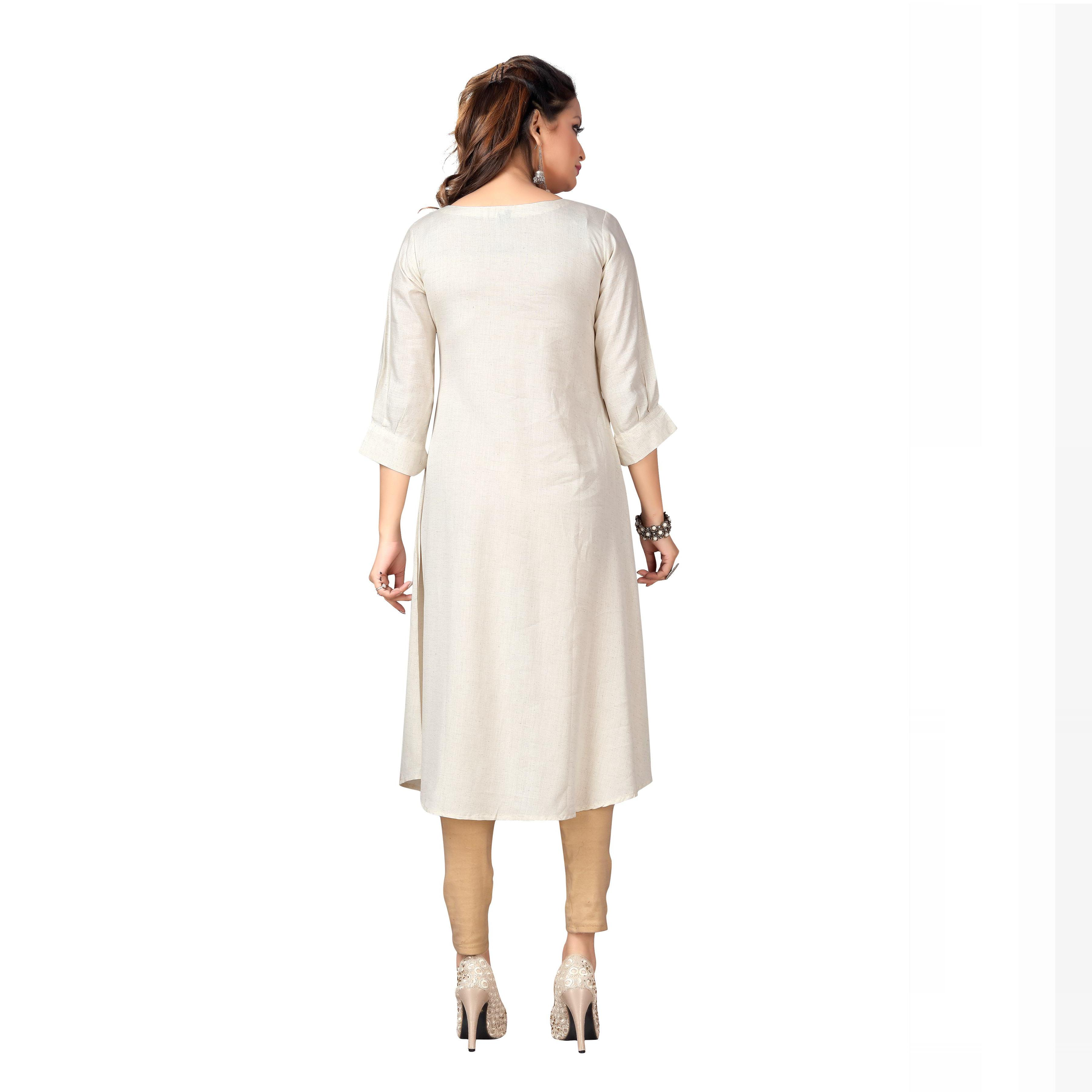 MAJESTIN Ladies Off-White Colored Casual Embroidered Knee Length Rayon Cotton Kurti