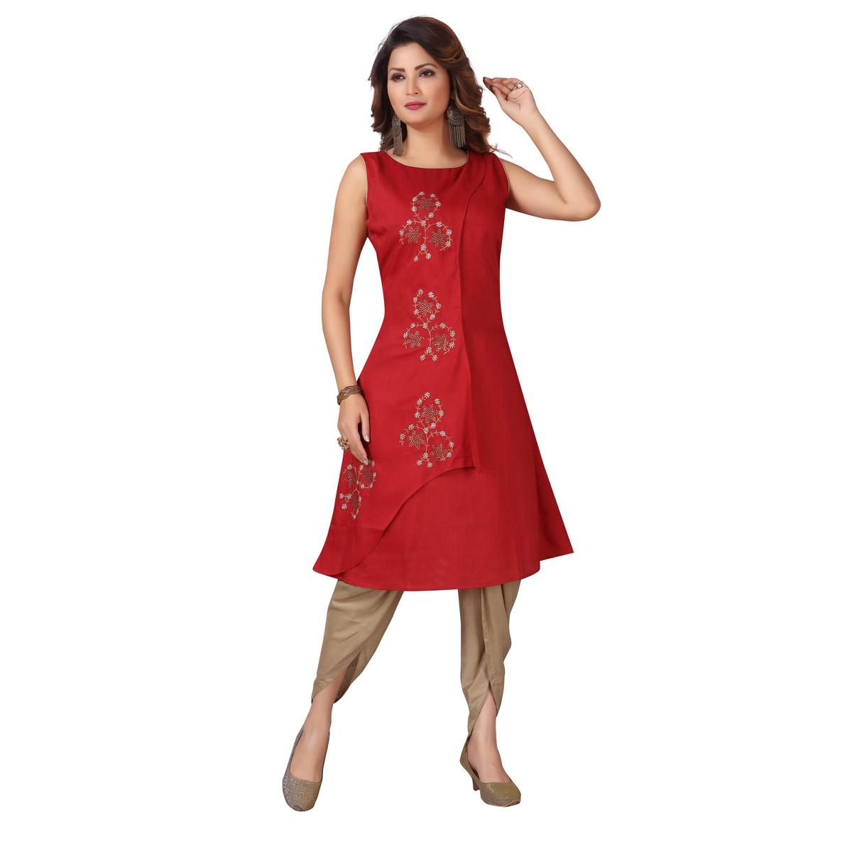 MAJESTIN Ladies Maroon Colored Partywear Embroidered Ankle Length Cotton Kurti-Dhoti Set