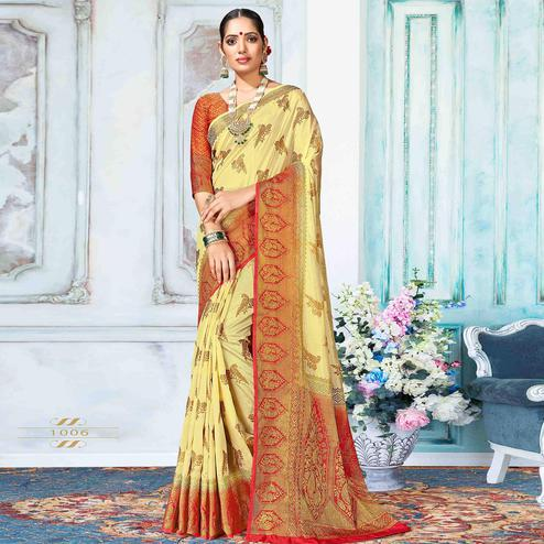 Surpassing Yellow Colored Festive Wear Woven Nylon Silk Saree
