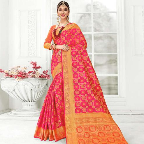 Sophisticated Pink Colored Festive Wear Woven Patola Silk Saree