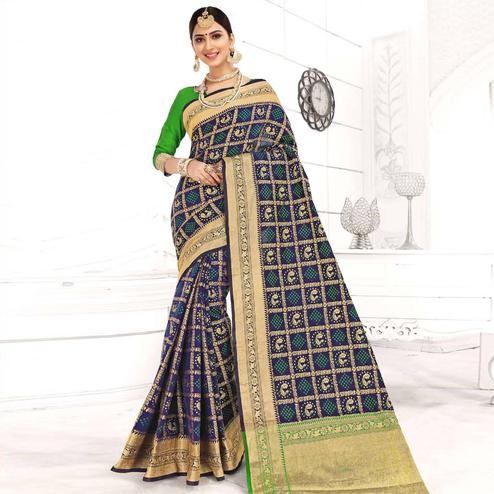 Radiant Navy Blue Colored Festive Wear Woven Patola Silk Saree