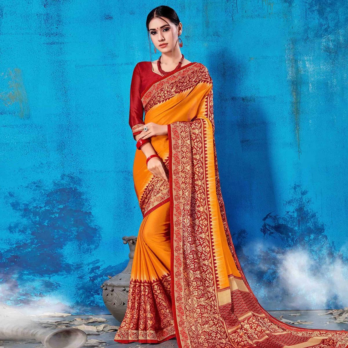Exceptional Mustard Yellow Colored Partywear Printed Rangoli Silk Saree