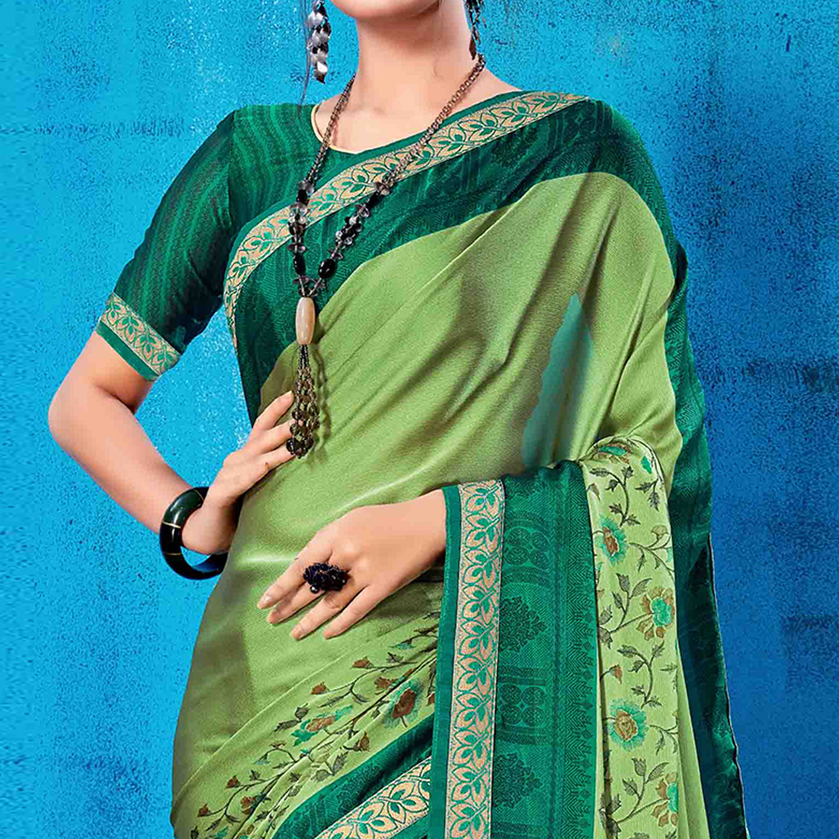 Gleaming Olive Green Colored Partywear Printed Rangoli Silk Saree