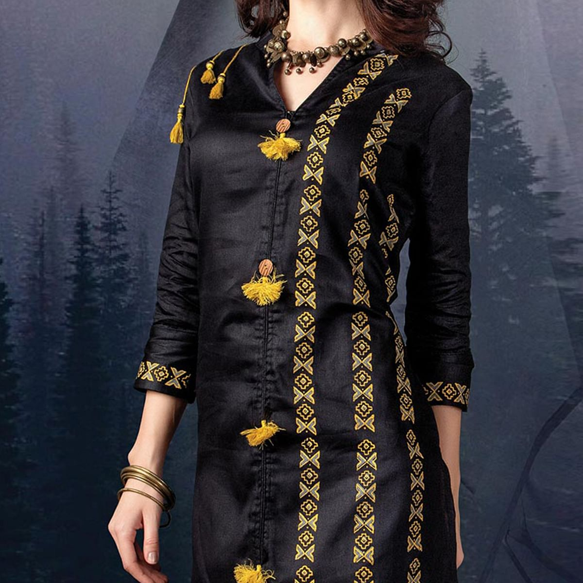 Elegant Black Colored Designer Partywear Printed Cotton Kurti