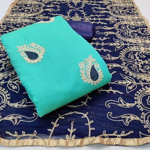 Magnetic Aqua Blue Colored Partywear Embroidered Chanderi Cotton Dress Material