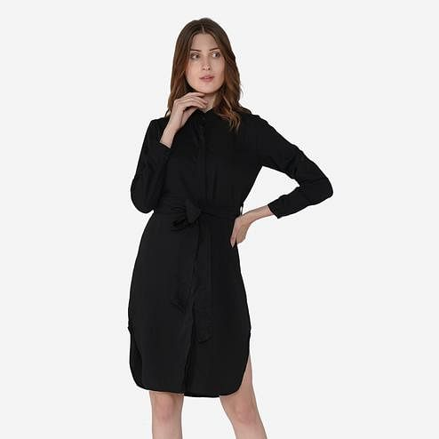 Label Regalia - Black Colored Casual Polyester Shirt Dress With Tie Up Belt