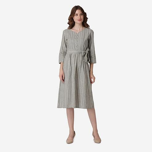 Label Regalia - Light Green Colored Casual Stripped Polyester Dress With Pockets