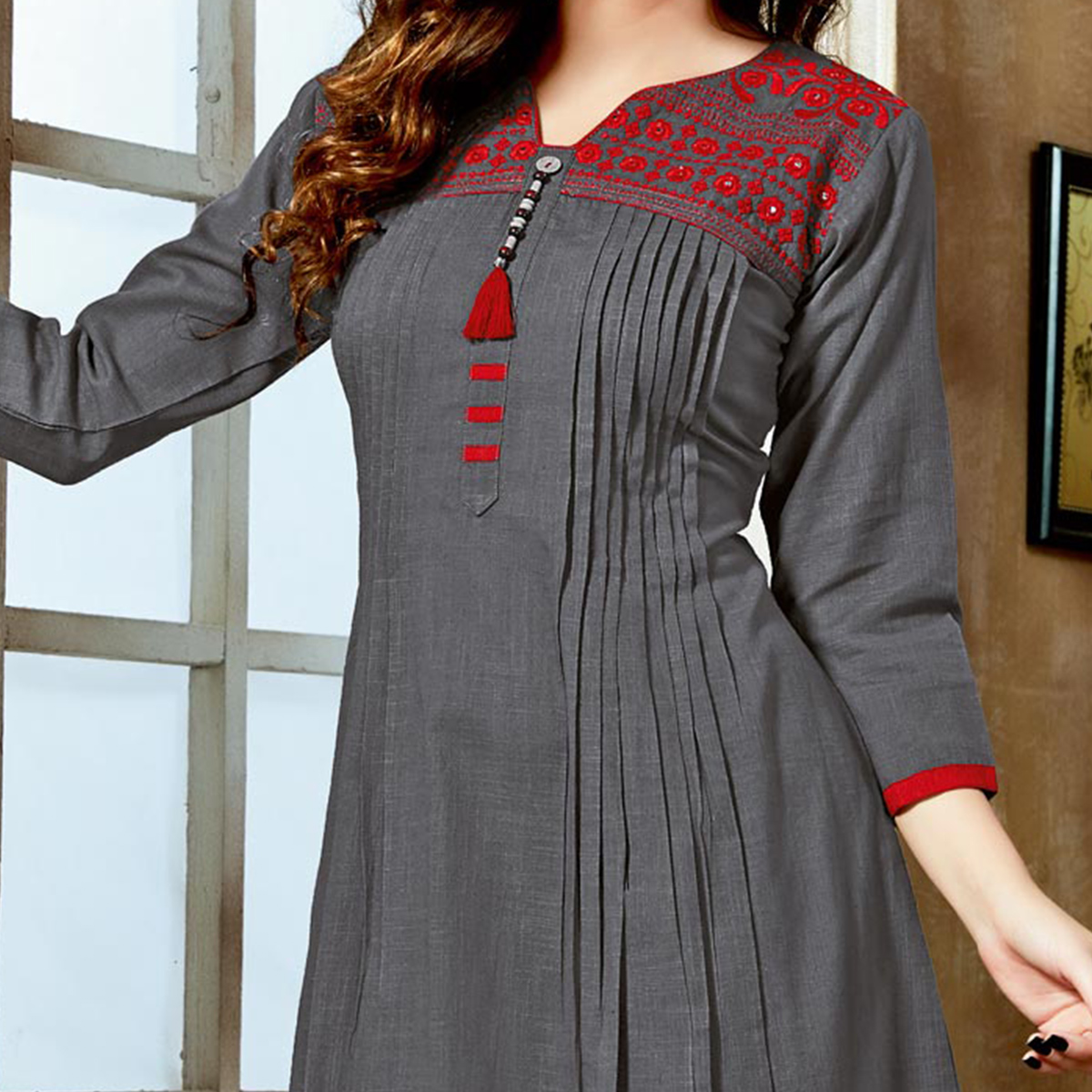 Stunning Gray Colored Designer Partywear Embroidered Cotton Kurti