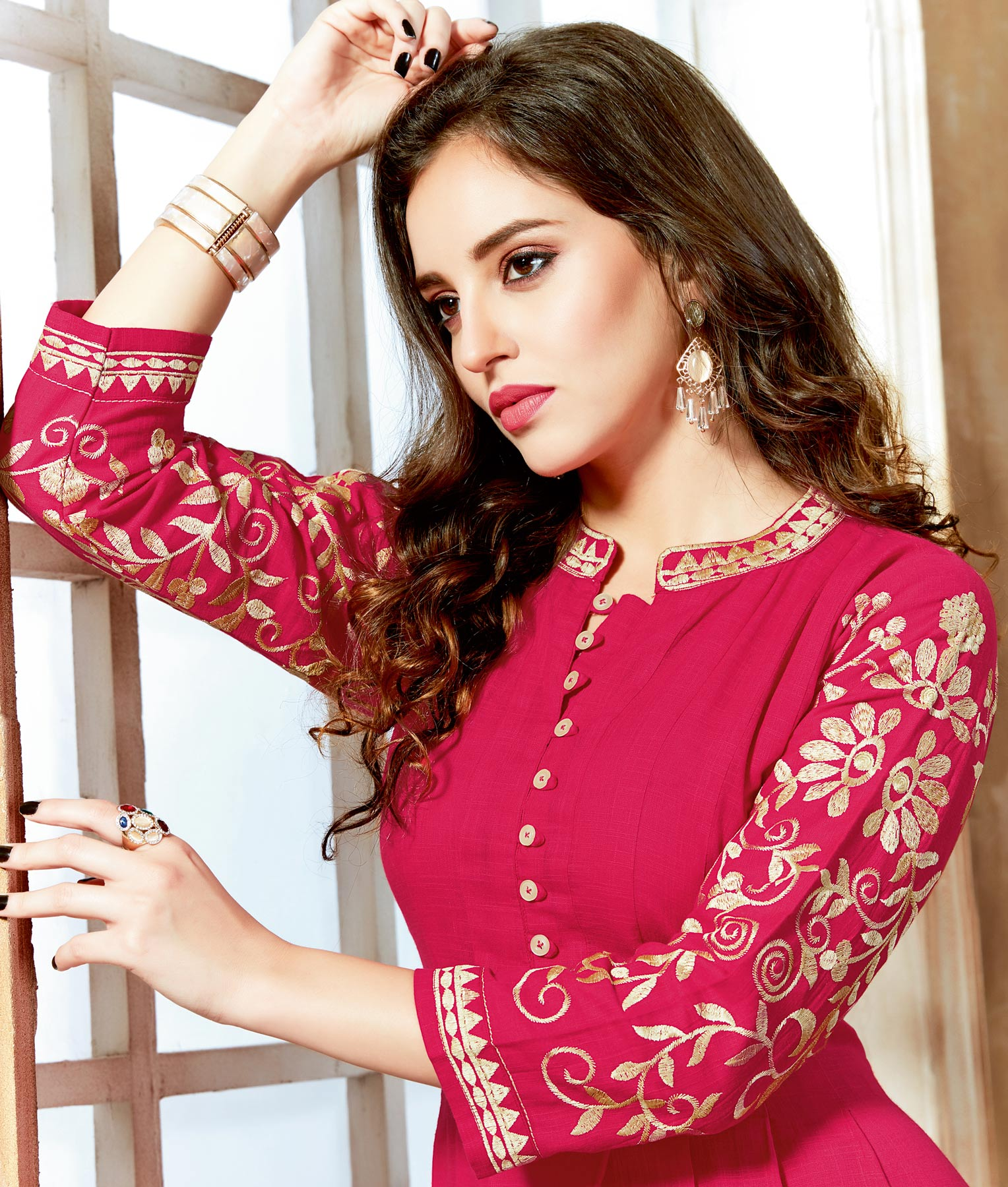 Ravishing Pink Designer Partywear Embroidered Cotton Kurti