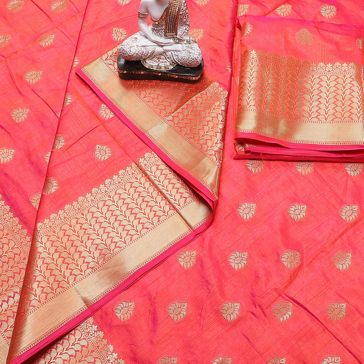 Breathtaking Coral Red Colored Festive Wear Woven Banarasi Silk Saree With Tassels