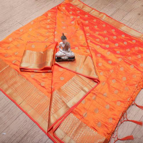 Ethnic Orange Colored Festive Wear Woven Banarasi Silk Saree With Tassels