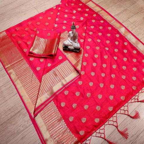 Surpassing Deep Pink Colored Festive Wear Woven Banarasi Silk Saree With Tassels
