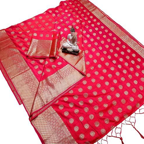 Intricate Deep Pink Colored Festive Wear Woven Banarasi Silk Saree With Tassels