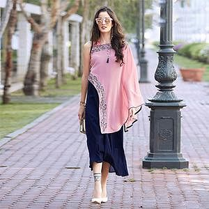 Trendy Pink-Blue Designer Partywear Embroidered Georgette Kurti