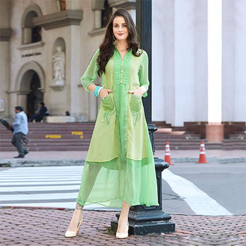 Graceful Green Designer Partywear Embroidered Georgette Kurti