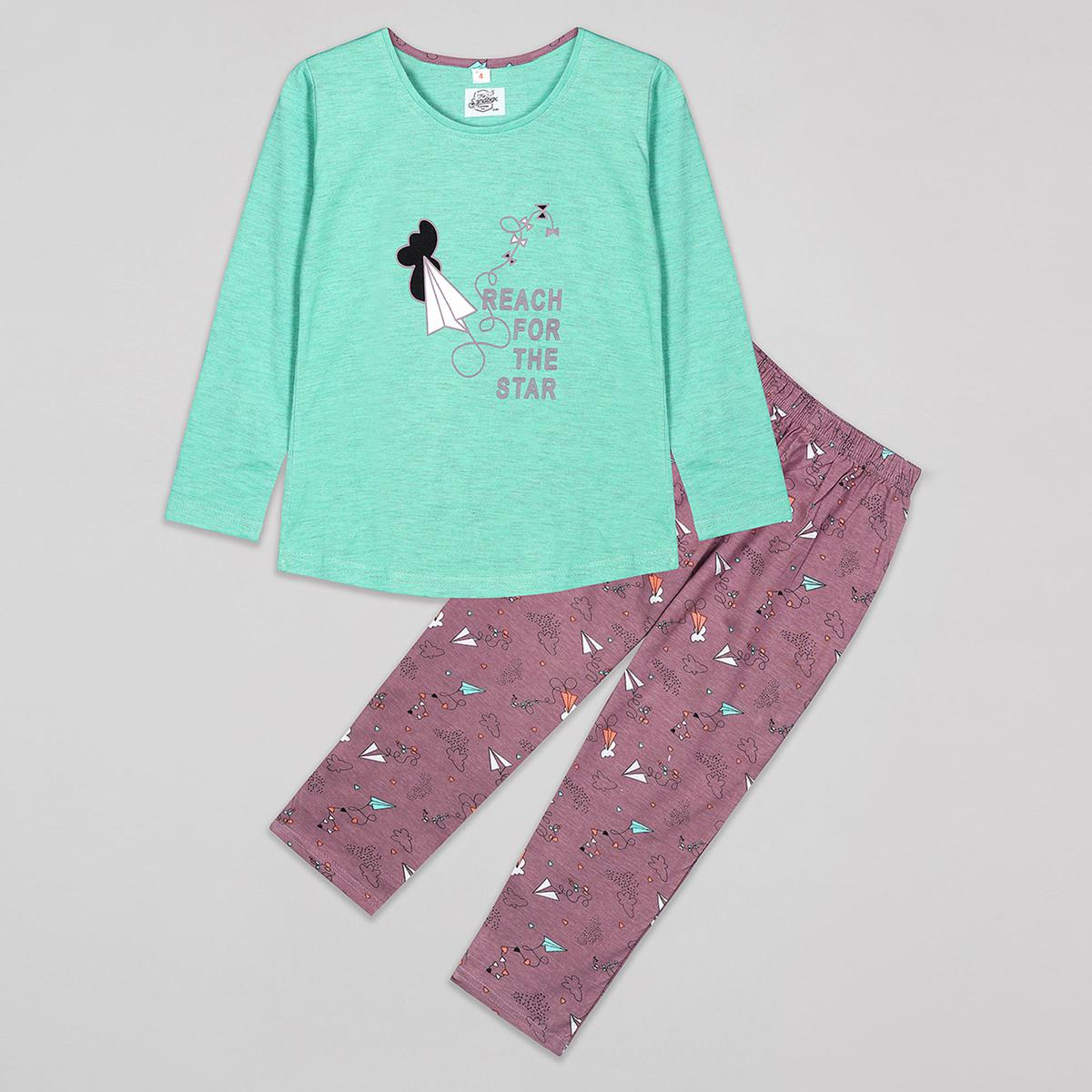 Sandbox - Green Colored Casual Cotton Night Suits